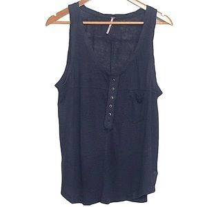 Free People Travelers Tank Henley Button Tank Top